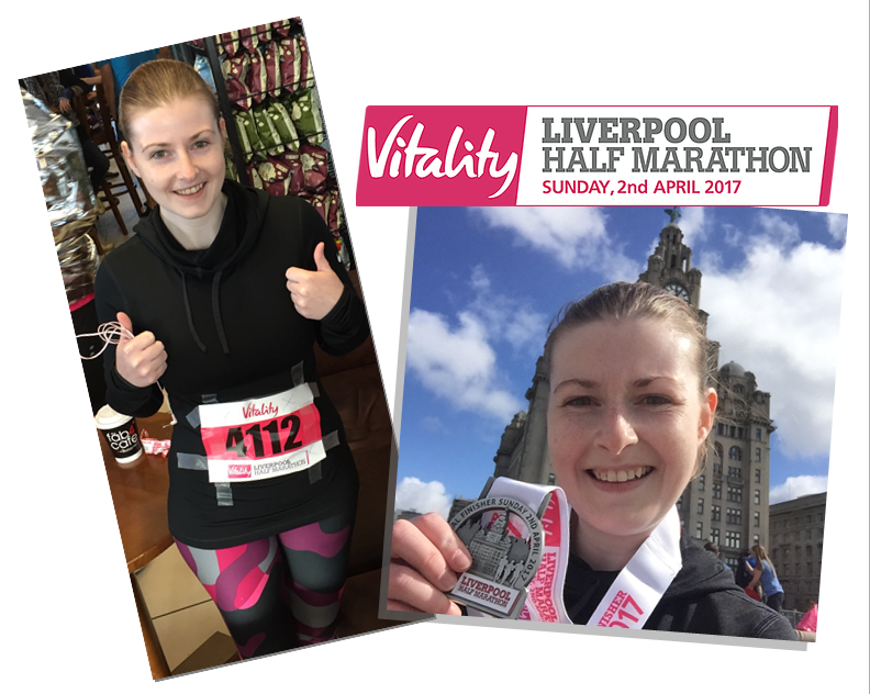 Amanda Scott shows off her Liverpool Half Marathon Medal for St. Mark's Hospital in hopes of a future free form bowel disease