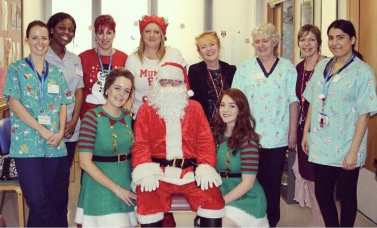 Santa and his elves at St Mark's Hospital